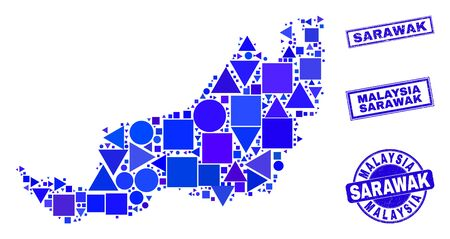 Vector mosaic Sarawak State map. Geographic collage in blue color tints, and corroded round and rectangle seal stamps. Abstract mosaic of Sarawak State map created of round, triangles, Ilustracja