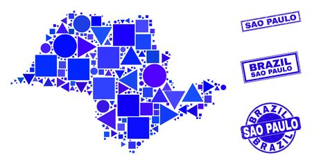 Vector mosaic Sao Paulo State map. Geographic collage in blue color shades, and grunge round and rectangle seal stamps. Abstract collage of Sao Paulo State map designed of circle, tringle, Ilustracja