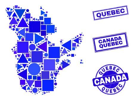 Vector mosaic Quebec Province map. Geographic scheme in blue color tones, and rubber round and rectangle seals. Abstract mosaic of Quebec Province map organized of round, tringle,