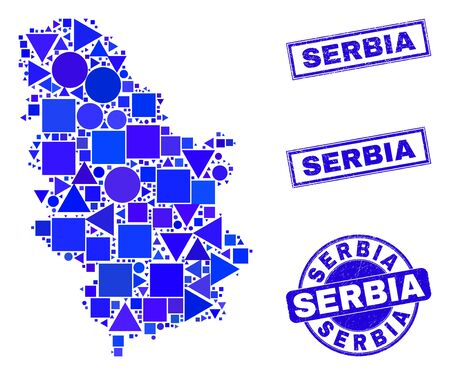 Vector mosaic Serbia map. Geographic collage in blue color hues, and dirty round and rectangle seal stamps. Abstract mosaic of Serbia map made of round, tringle, square geometric spots.