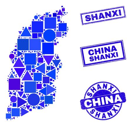 Vector mosaic Shanxi Province map. Geographic collage in blue color shades, and scratched round and rectangle seal stamps. Abstract collage of Shanxi Province map organized of round, tringle, Ilustracja