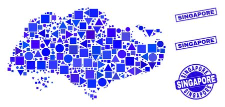 Vector mosaic Singapore map. Geographic scheme in blue color tones, and dirty round and rectangle stamp seals. Abstract mosaic of Singapore map done of round, triangles, square geometric elements.