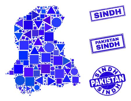 Vector mosaic Sindh Province map. Geographic plan in blue color tinges, and unclean round and rectangle stamps. Abstract mosaic of Sindh Province map constructed of round, triangles, Ilustracja