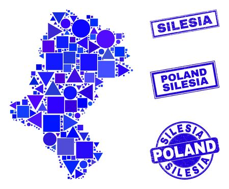 Vector mosaic Silesian Voivodeship map. Geographic collage in blue color tints, and textured round and rectangle seals. Abstract collage of Silesian Voivodeship map designed of round, triangles, Ilustracja