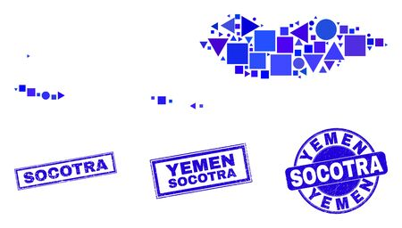 Vector mosaic Socotra Archipelago map. Geographic collage in blue color hues, and corroded round and rectangle stamp seals. Abstract mosaic of Socotra Archipelago map created of round, tringle,