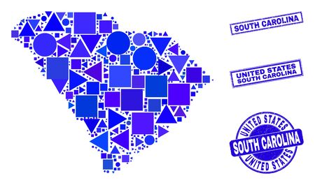 Vector mosaic South Carolina State map. Geographic collage in blue color tints, and textured round and rectangle stamps. Abstract mosaic of South Carolina State map combined of round, triangles, Ilustracja