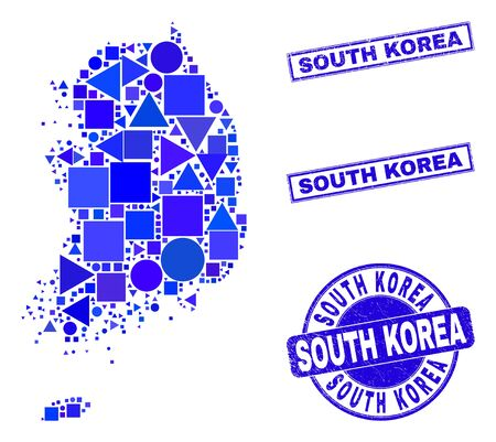 Vector mosaic South Korea map. Geographic collage in blue color tones, and dirty round and rectangle stamps. Abstract collage of South Korea map organized of round, triangles, square geometric items. Ilustracja