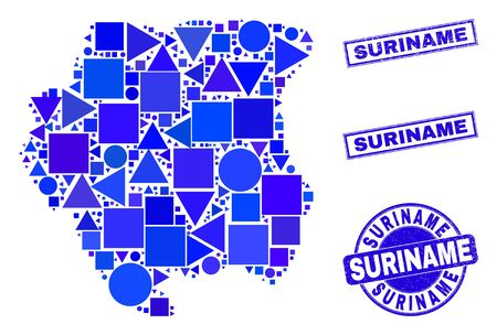 Vector mosaic Suriname map. Geographic collage in blue color tinges, and unclean round and rectangle seals. Abstract mosaic of Suriname map composed of round, tringle, square geometric spots.
