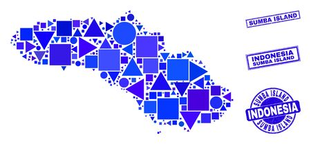 Vector mosaic Sumba Island map. Geographic plan in blue color shades, and unclean round and rectangle seal stamps. Abstract mosaic of Sumba Island map constructed of circle, tringle, Ilustracja