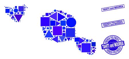 Vector mosaic Tahiti and Moorea islands map. Geographic collage in blue color tints, and rubber round and rectangle seals. Abstract mosaic of Tahiti and Moorea islands map done of circle, tringle, 일러스트