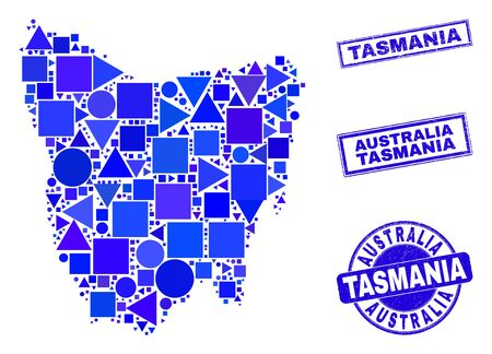 Vector mosaic Tasmania Island map. Geographic collage in blue color hues, and scratched round and rectangle stamps. Abstract mosaic of Tasmania Island map designed of round, tringle, Ilustracja