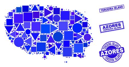 Vector mosaic Terceira Island map. Geographic scheme in blue color hues, and grunge round and rectangle seal stamps. Abstract mosaic of Terceira Island map organized of round, triangles, Ilustracja