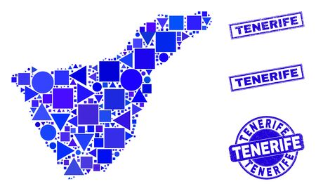 Vector mosaic Tenerife map. Geographic plan in blue color tinges, and corroded round and rectangle seal stamps. Abstract mosaic of Tenerife map created of round, triangles, square geometric spots.