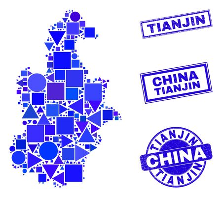 Vector mosaic Tianjin City map. Geographic plan in blue color tones, and rubber round and rectangle seal stamps. Abstract mosaic of Tianjin City map created of round, tringle, square geometric items. Illustration