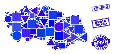 Vector mosaic Toledo Province map. Geographic scheme in blue color tones, and textured round and rectangle seal stamps. Abstract concept of Toledo Province map made of round, tringle,