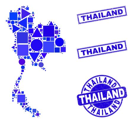 Vector mosaic Thailand map. Geographic collage in blue color shades, and dirty round and rectangle stamps. Abstract concept of Thailand map constructed of round, tringle, square geometric spots.