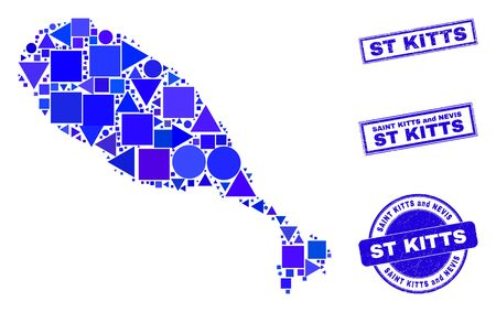 Vector mosaic St Kitts Island map. Geographic collage in blue color tinges, and unclean round and rectangle stamps. Abstract mosaic of St Kitts Island map done of round, tringle, Ilustracja