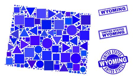 Vector mosaic Wyoming State map. Geographic scheme in blue color tones, and corroded round and rectangle stamps. Abstract mosaic of Wyoming State map designed of round, tringle, 일러스트