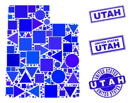 Vector mosaic Utah State map. Geographic collage in blue color tinges, and unclean round and rectangle seal stamps. Abstract mosaic of Utah State map done of round, triangles, square geometric items.