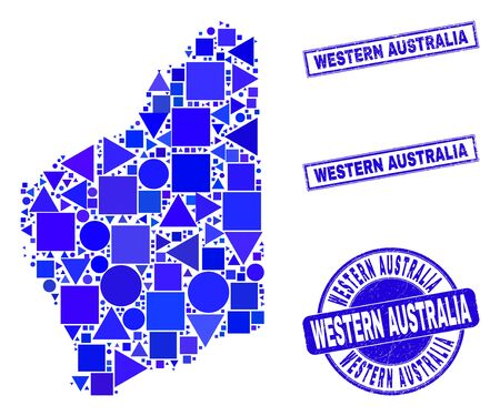 Vector mosaic Western Australia map. Geographic collage in blue color tinges, and unclean round and rectangle seals. Abstract mosaic of Western Australia map composed of sphere, tringle,