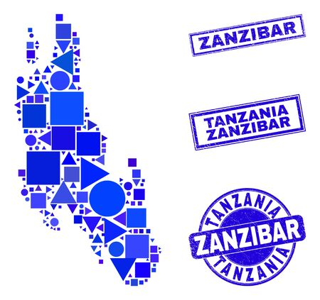 Vector mosaic Zanzibar Island map. Geographic scheme in blue color tinges, and dirty round and rectangle seals. Abstract mosaic of Zanzibar Island map designed of round, triangles,