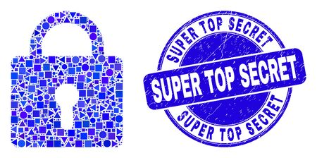 Geometric lock mosaic pictogram and Super Top Secret seal. Blue vector rounded distress seal with Super Top Secret title. Abstract mosaic of lock composed of circle, tringle, square geometric items.