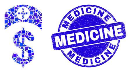 Geometric medicine price mosaic pictogram and Medicine seal stamp. Blue vector rounded grunge seal stamp with Medicine phrase. Abstract composition of medicine price combined of circle, triangles, Illustration