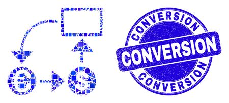Geometric currency conversion scheme mosaic icon and Conversion seal stamp. Blue vector round distress seal stamp with Conversion text. Illustration