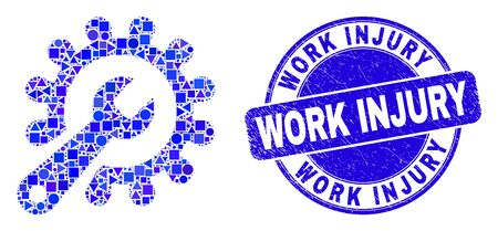 Geometric repair tools mosaic icon and Work Injury seal stamp. Blue vector rounded grunge watermark with Work Injury message. Abstract mosaic of repair tools made of sphere, triangles,