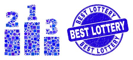 Geometric prize places mosaic icon and Best Lottery stamp. Blue vector round scratched seal stamp with Best Lottery title. Abstract mosaic of prize places made of round, triangles,