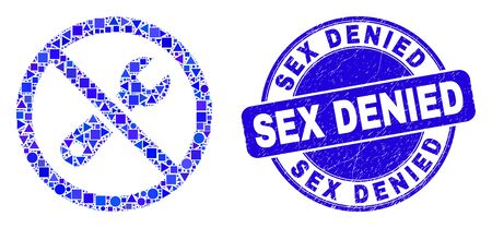 Geometric forbidden repair mosaic pictogram and Sex Denied stamp. Blue vector round textured seal stamp with Sex Denied caption. Abstract composition of forbidden repair constructed of round, tringle, Иллюстрация