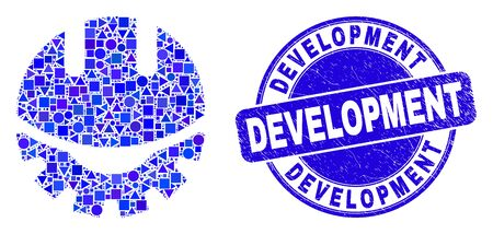 Geometric development helmet mosaic icon and Development seal stamp. Blue vector rounded textured stamp with Development caption. Abstract mosaic of development helmet combined of spheric, triangles,