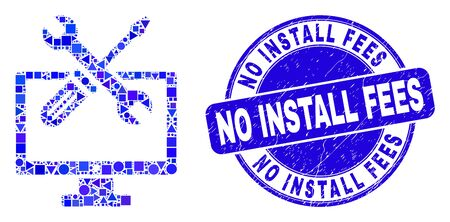 Geometric desktop options mosaic pictogram and No Install Fees seal stamp. Blue vector rounded distress seal stamp with No Install Fees phrase.