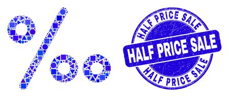 Geometric per mille symbol mosaic pictogram and Half Price Sale seal stamp. Blue vector rounded textured seal with Half Price Sale caption. Abstract mosaic of per mille symbol combined of circle,