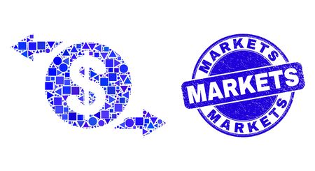 Geometric dollar exchange arrows mosaic icon and Markets seal. Blue vector rounded grunge seal with Markets caption. Abstract mosaic of dollar exchange arrows constructed of circle, tringle,