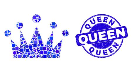 Geometric crown mosaic pictogram and Queen seal. Blue vector round textured seal stamp with Queen caption. Abstract concept of crown constructed of round, tringle, square geometric spots. Illustration