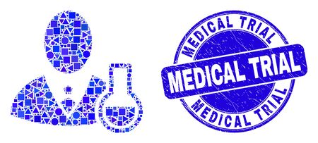 Geometric chemical scientist mosaic pictogram and Medical Trial seal stamp. Blue vector round textured stamp with Medical Trial text. Abstract composition of chemical scientist designed of round,