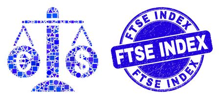 Geometric compare euro dollar mosaic icon and Ftse Index seal stamp. Blue vector round distress stamp with Ftse Index phrase. Abstract composition of compare euro dollar made of round, triangles,
