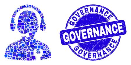 Geometric repair service operator mosaic pictogram and Governance seal stamp. Blue vector rounded distress seal stamp with Governance text.