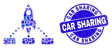 Geometric rocket links mosaic icon and Car Sharing seal. Blue vector round textured seal stamp with Car Sharing phrase. Abstract mosaic of rocket links constructed of round, tringle,