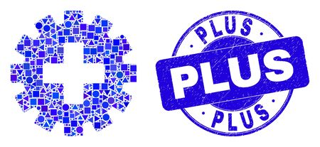 Geometric plus gear mosaic pictogram and Plus seal stamp. Blue vector rounded grunge seal stamp with Plus caption. Abstract concept of plus gear created of round, tringle, square geometric spots. Illustration