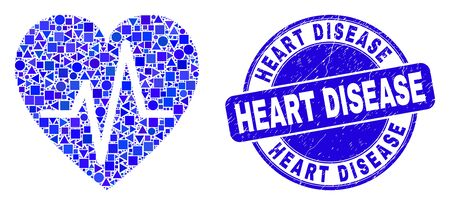 Geometric heart pulse mosaic pictogram and Heart Disease seal stamp. Blue vector round grunge seal stamp with Heart Disease title. Abstract mosaic of heart pulse composed of sphere, triangles, Illustration