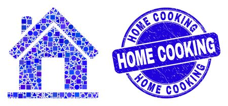 Geometric home mosaic icon and Home Cooking seal stamp. Blue vector rounded grunge seal stamp with Home Cooking phrase. Abstract mosaic of home constructed of sphere, triangles,