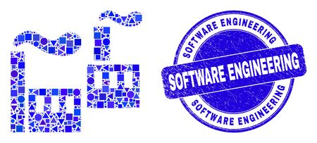 Geometric industrial factory mosaic pictogram and Software Engineering seal stamp. Blue vector round textured seal stamp with Software Engineering title.