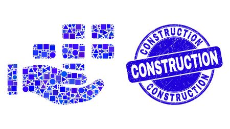 Geometric hand offer bricks mosaic pictogram and Construction seal stamp. Blue vector round grunge seal stamp with Construction text. Abstract mosaic of hand offer bricks created of round, triangles,