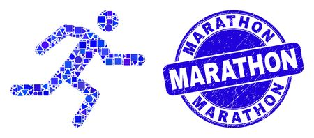 Geometric running man mosaic pictogram and Marathon seal stamp. Blue vector round distress seal stamp with Marathon title. Abstract concept of running man designed of sphere, triangles,
