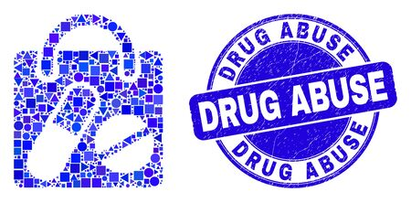 Geometric drugs shopping bag mosaic pictogram and Drug Abuse seal stamp. Blue vector rounded distress seal stamp with Drug Abuse phrase.