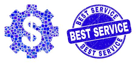 Geometric financial settings mosaic icon and Best Service seal. Blue vector round distress seal with Best Service text. Abstract mosaic of financial settings designed of sphere, tringle,