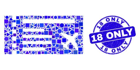 Geometric airticket mosaic pictogram and 18 Only seal stamp. Blue vector round textured seal stamp with 18 Only phrase. Abstract composition of airticket made of circle, tringle, Illustration