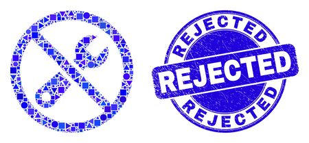 Geometric forbidden repair mosaic icon and Rejected seal stamp. Blue vector round scratched stamp with Rejected phrase. Abstract collage of forbidden repair constructed of round, tringle,